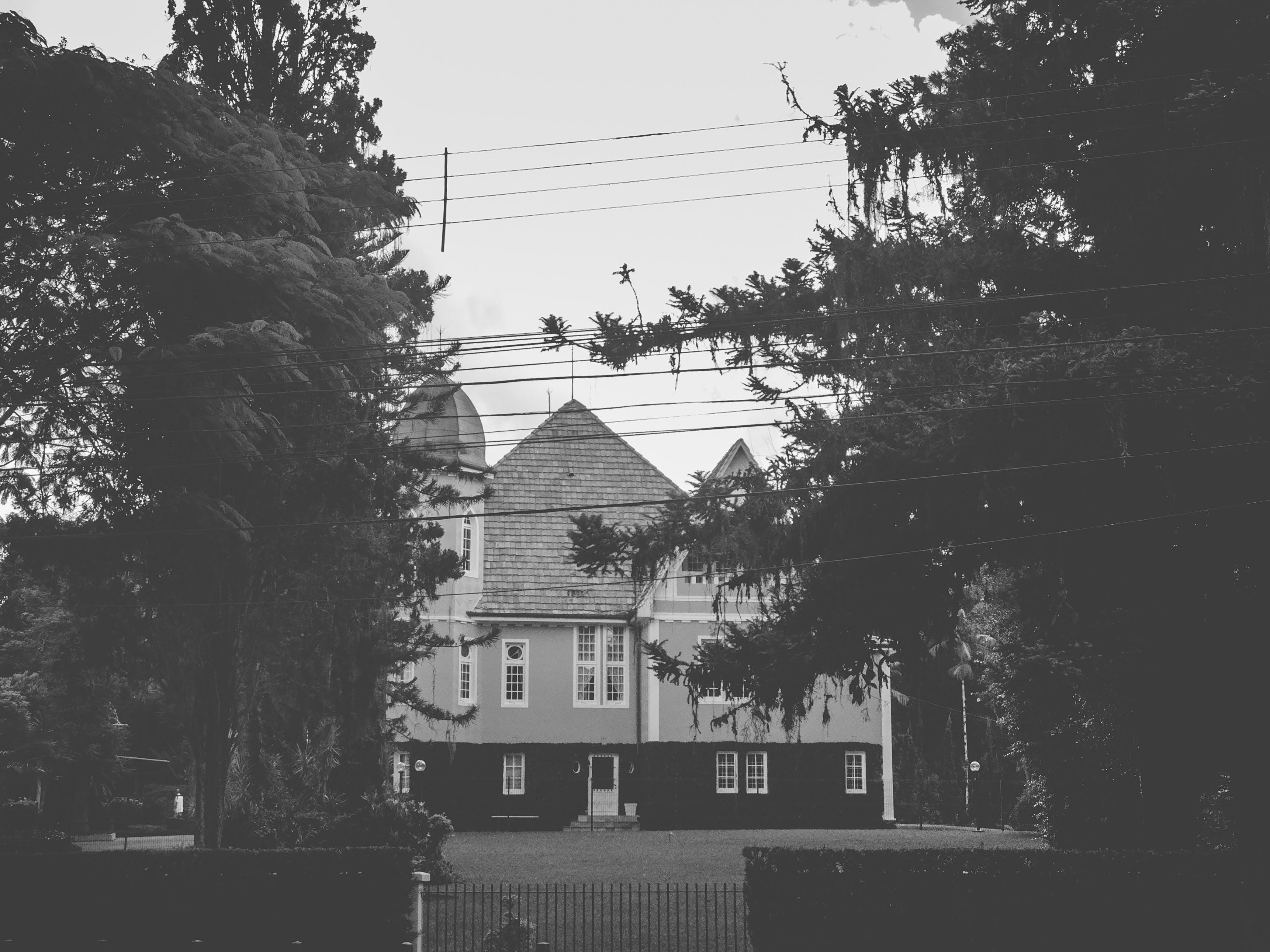 Grayscale Photo of White Concrete Building