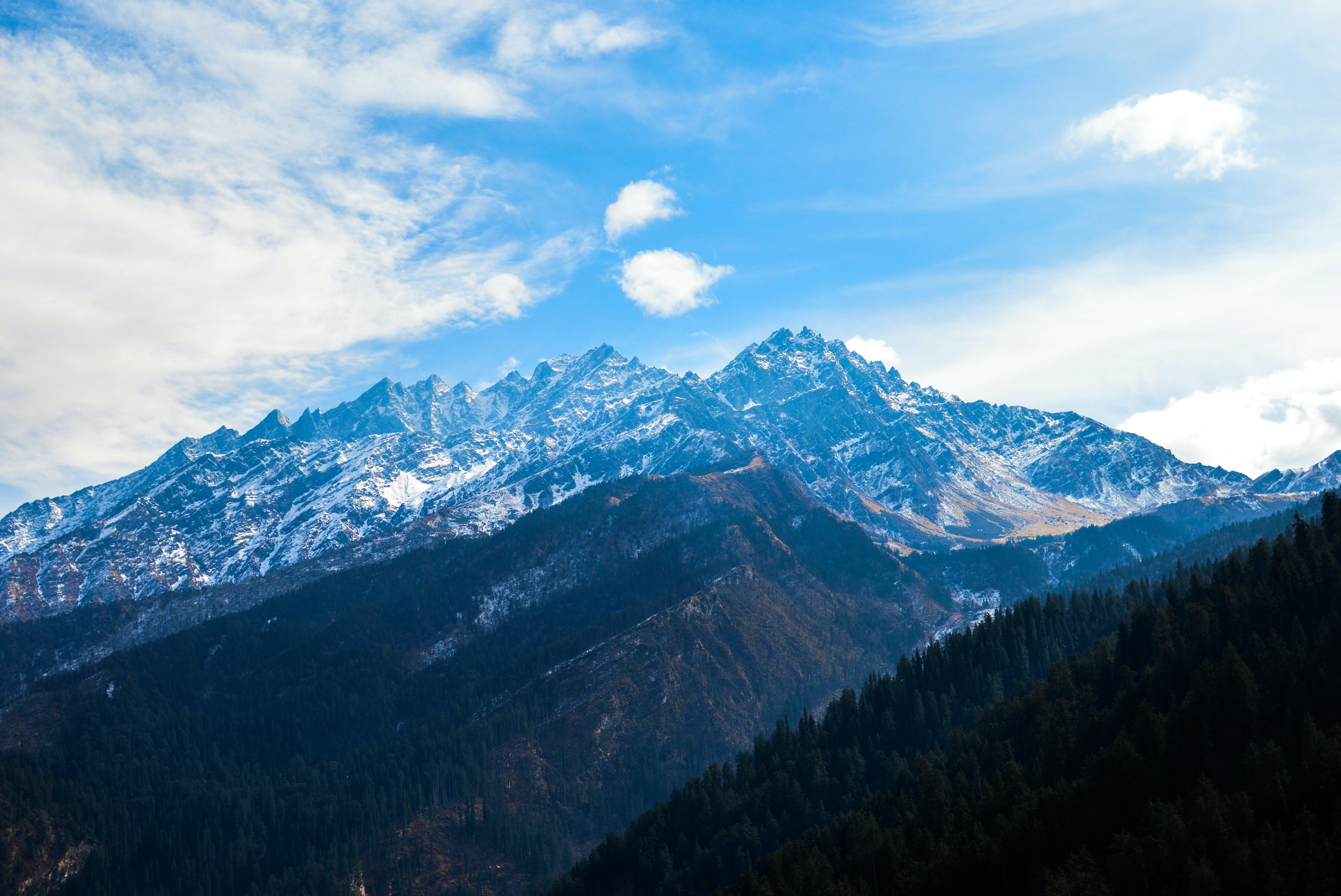 denní, denní světlo, horské vrcholy