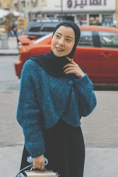 Woman in Blue Sweater With Black Hijab Outfit