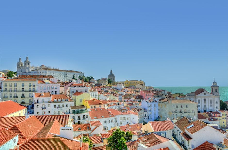 city, houses, Lisbon
