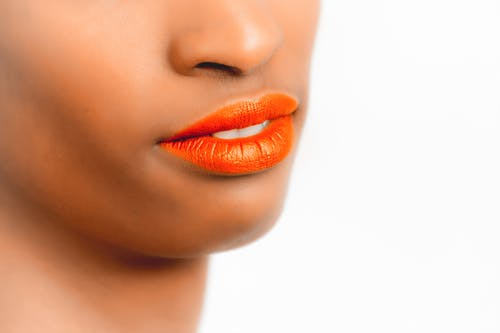 Woman Orange Lips