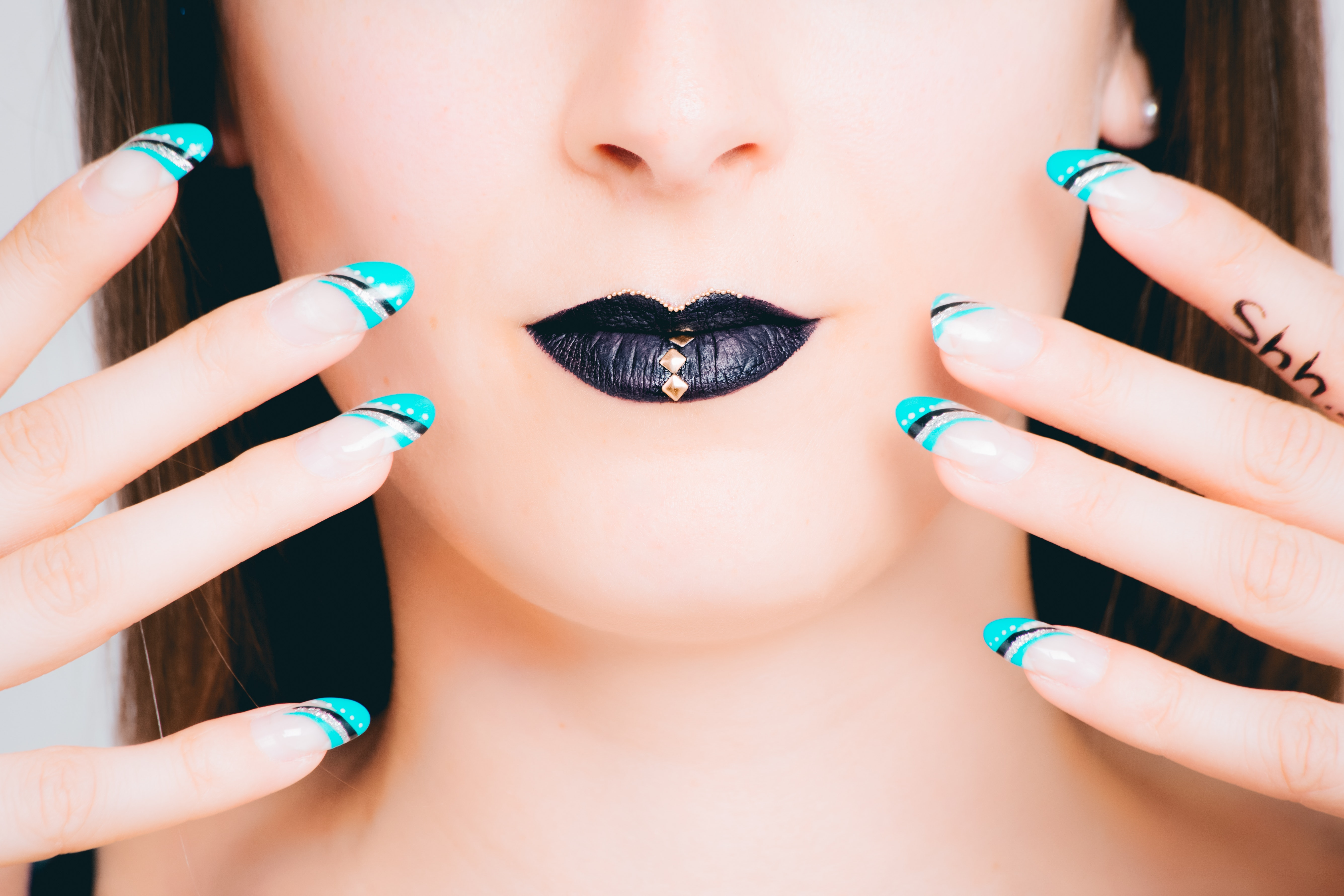 teal black and white nail art free stock photo. Black Bedroom Furniture Sets. Home Design Ideas