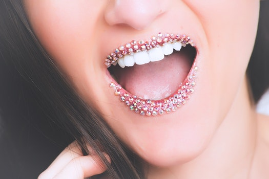Woman in Clear Gemstone Studded Lipstick