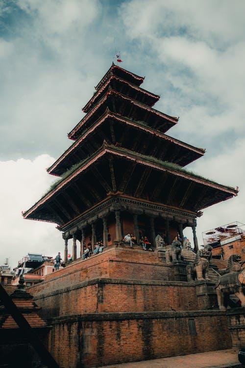 Nyatapola Temple under Cloudy Sky