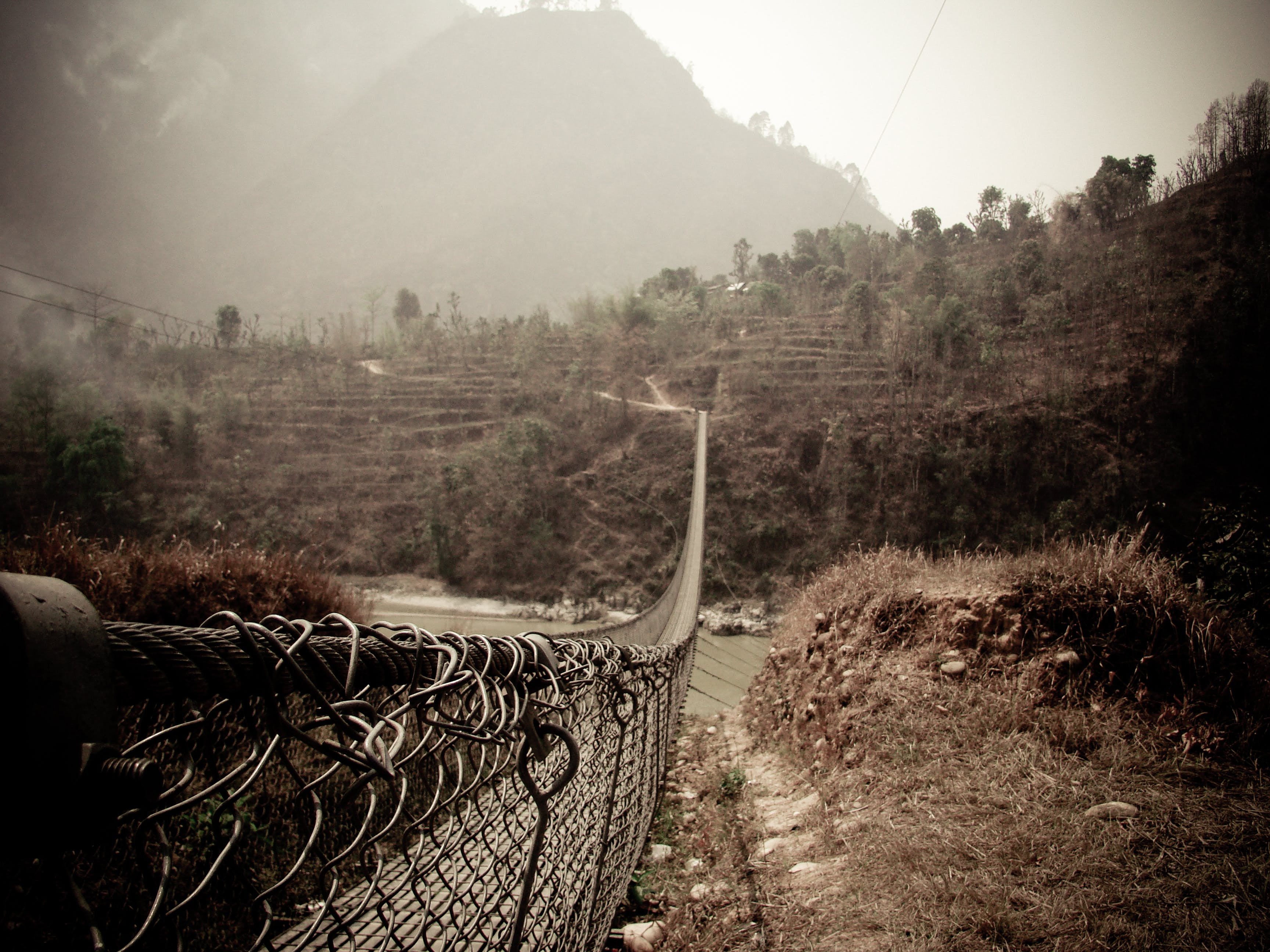 Free stock photo of nature, footbridge, nepal, floating bridge