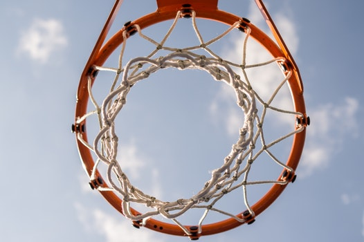 bottom view of basketball hoop