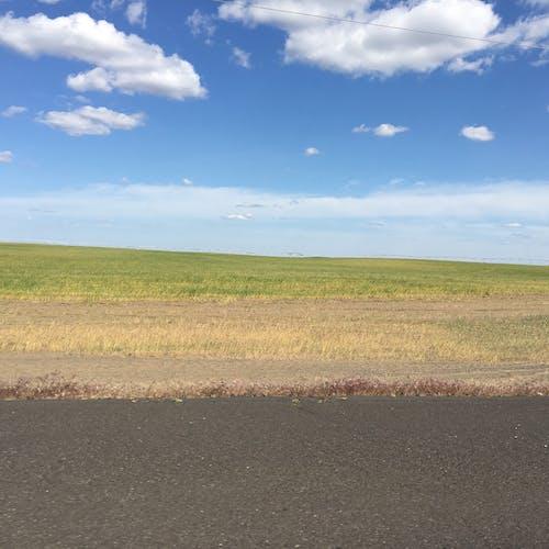 Gratis lagerfoto af baner, blå himmel, hvide skyer, landbrugsjord
