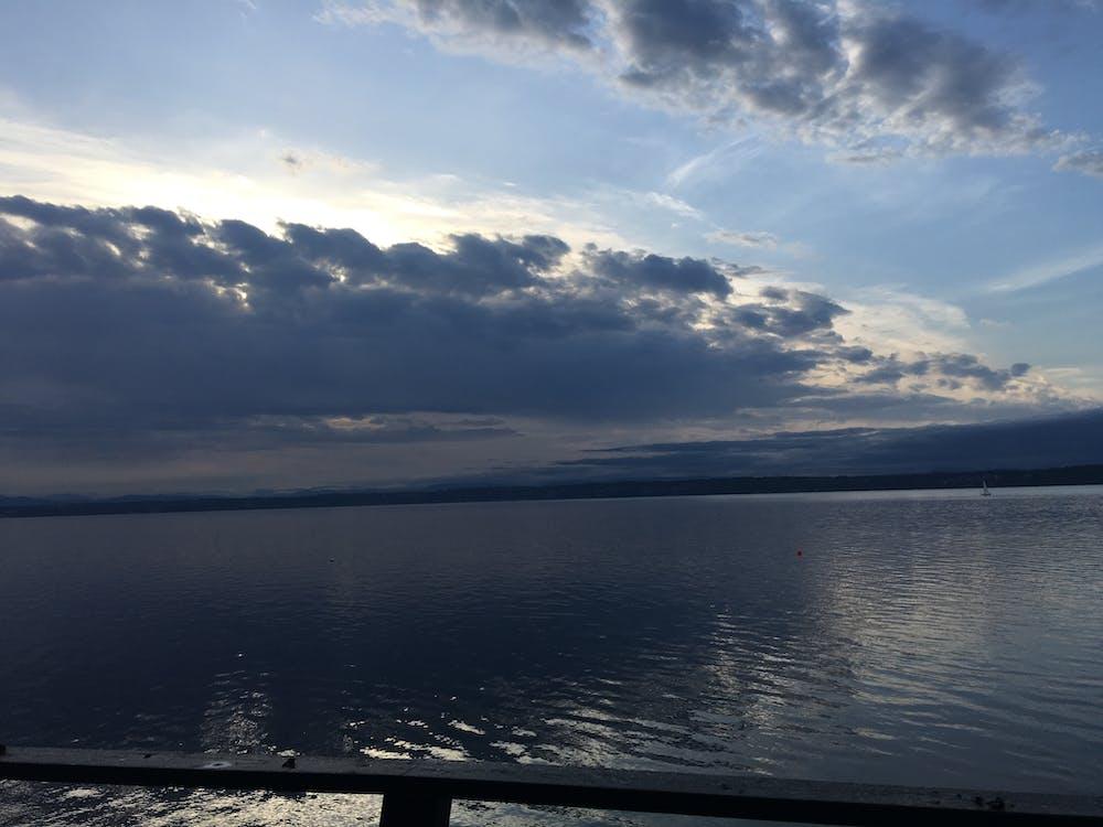 acoperit de nori, apă, cer impresionant