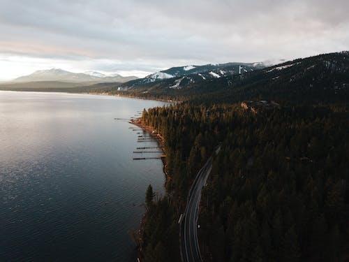 ağaçlar, bulutlar, bulutlu, dağ silsilesi içeren Ücretsiz stok fotoğraf