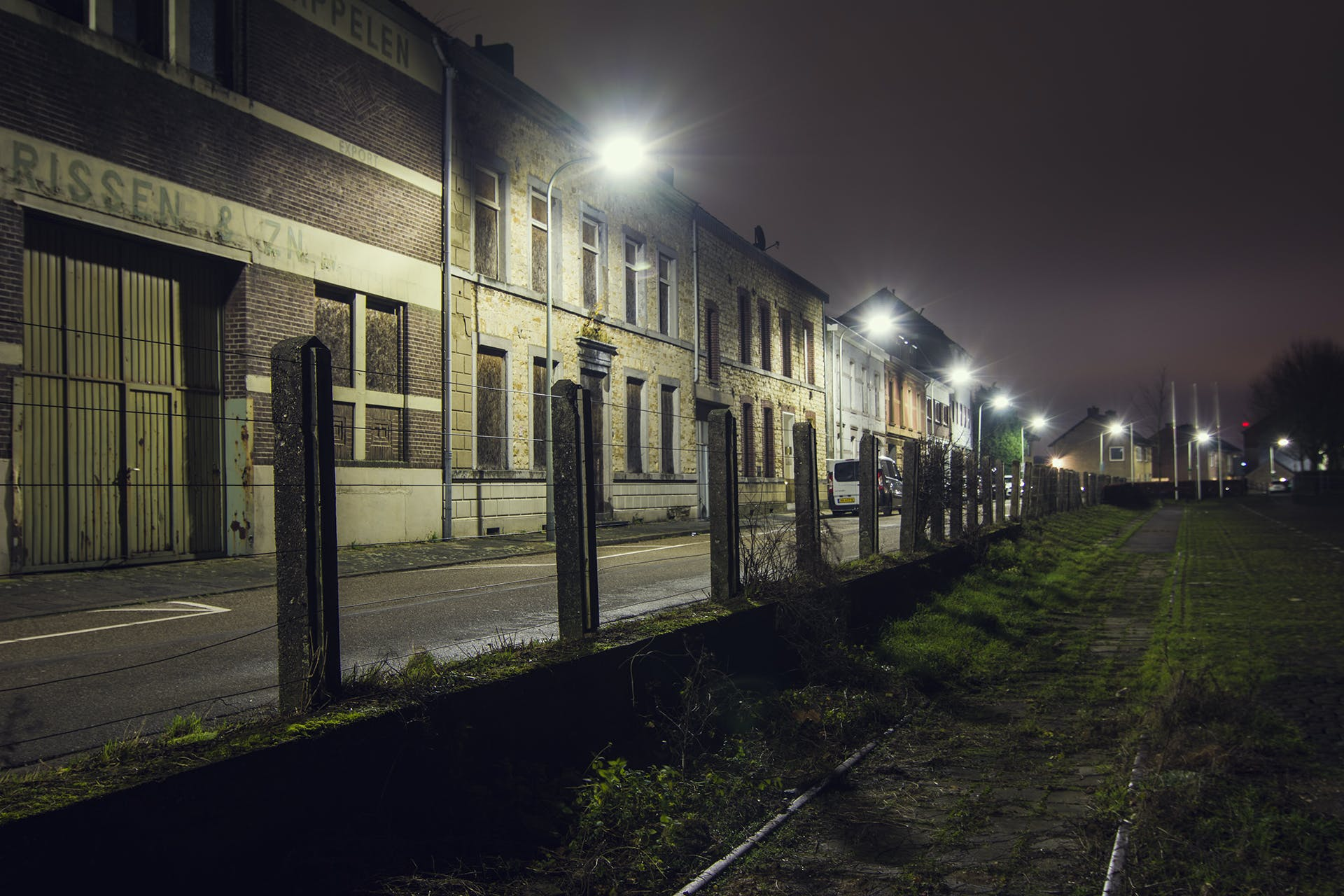 Free stock photo of abandoned, buildings, field, night