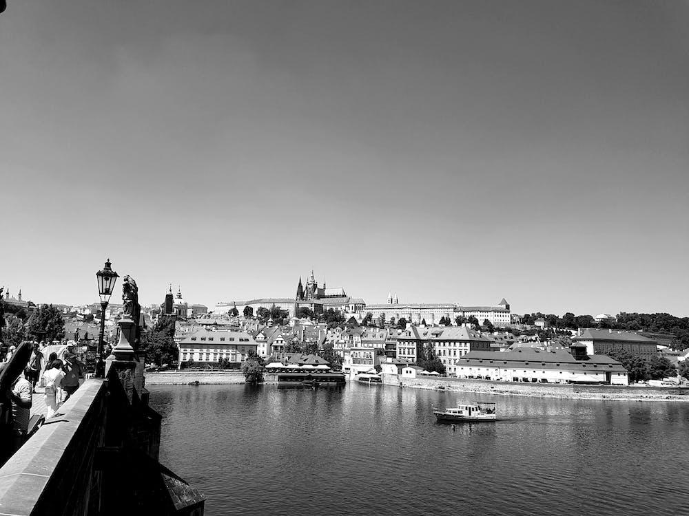black, black and white, boat