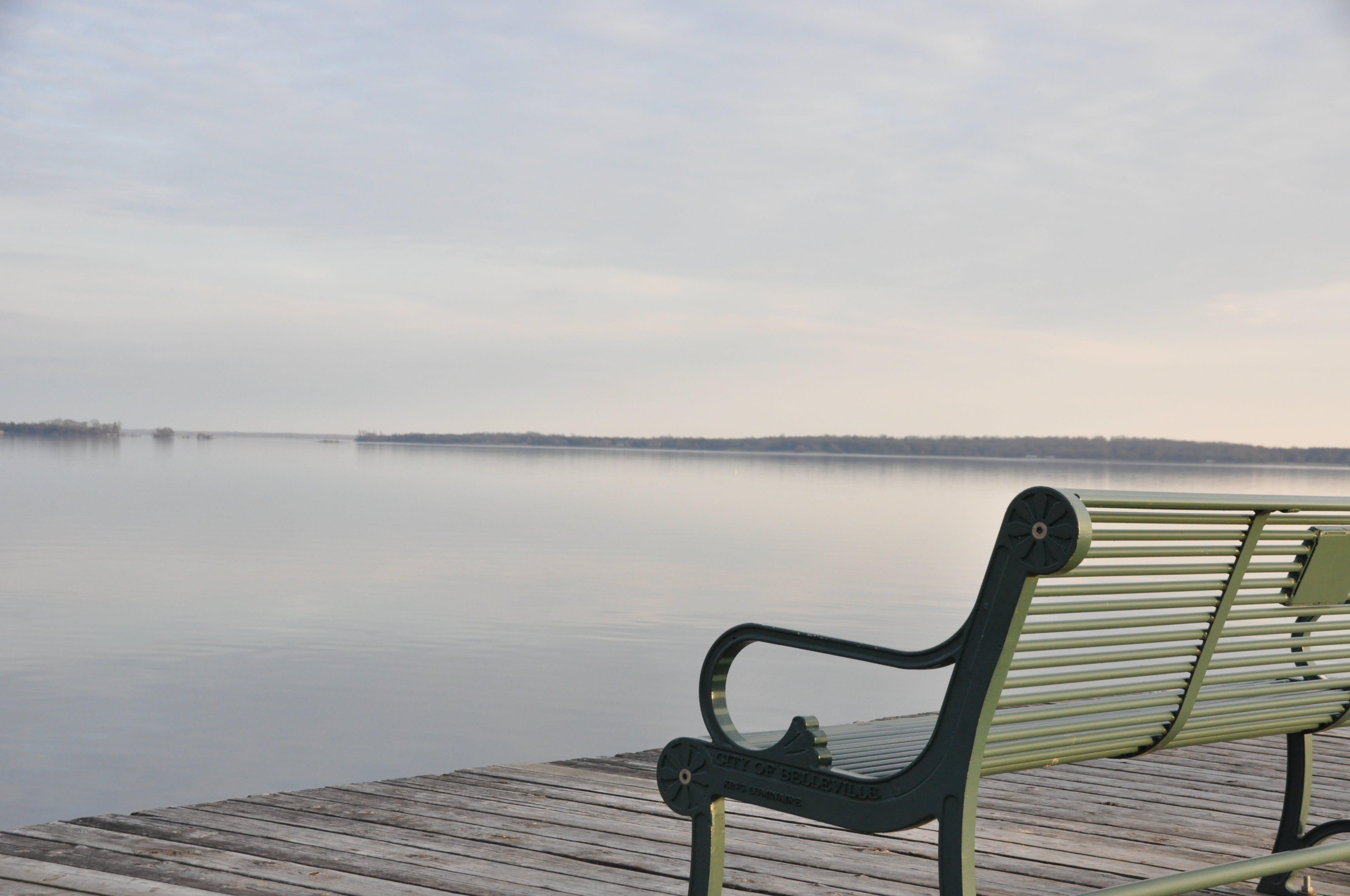 Photo of Gray Metal Bench Near Sea
