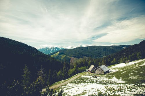 Free stock photo of clouds, cottage, hills, landscape