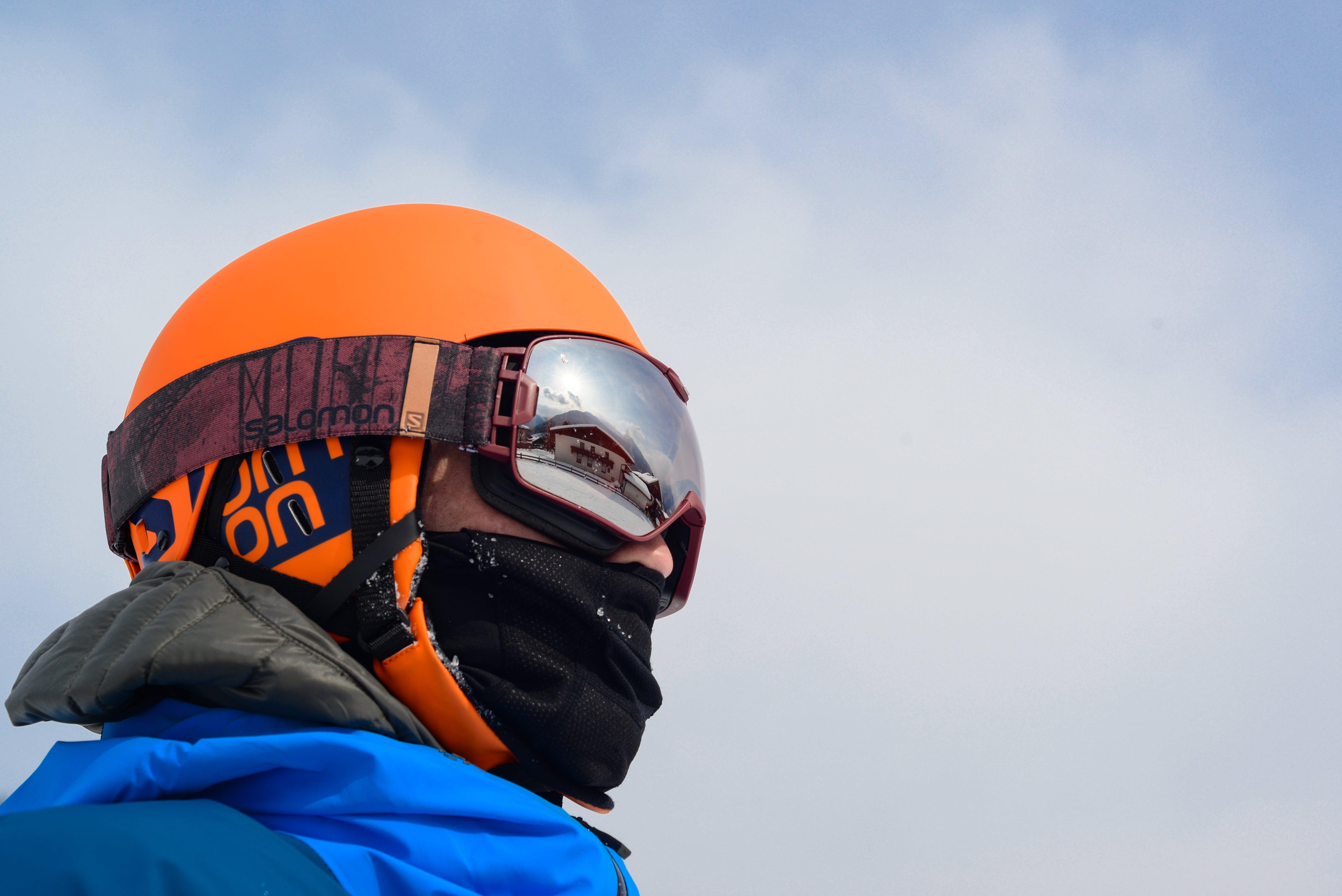 Person Wearing Orange Helmet