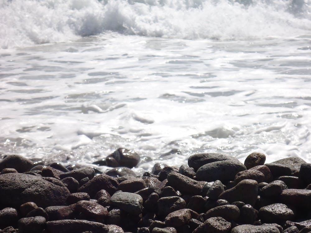 sea, seashore, stones