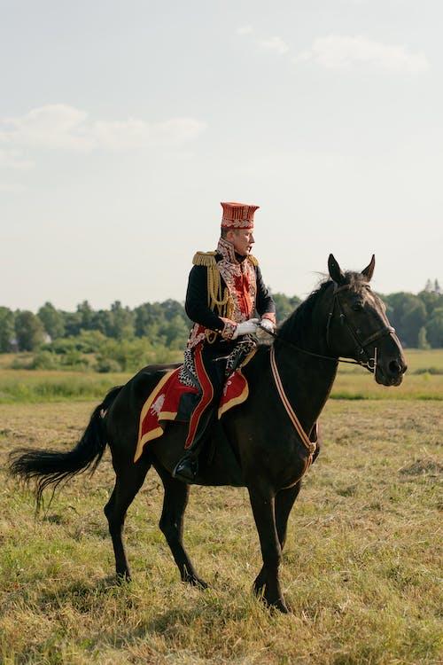 Man Riding a Black Horse