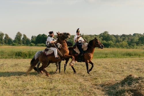 People Riding Horses on Green Grass Field