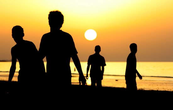 Silhouette of 4 People Near Ocean during Sunset