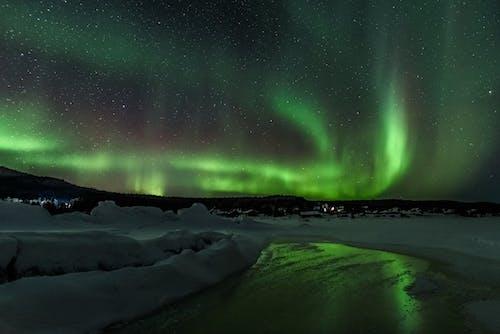 Aurora Borealis Over Mountains