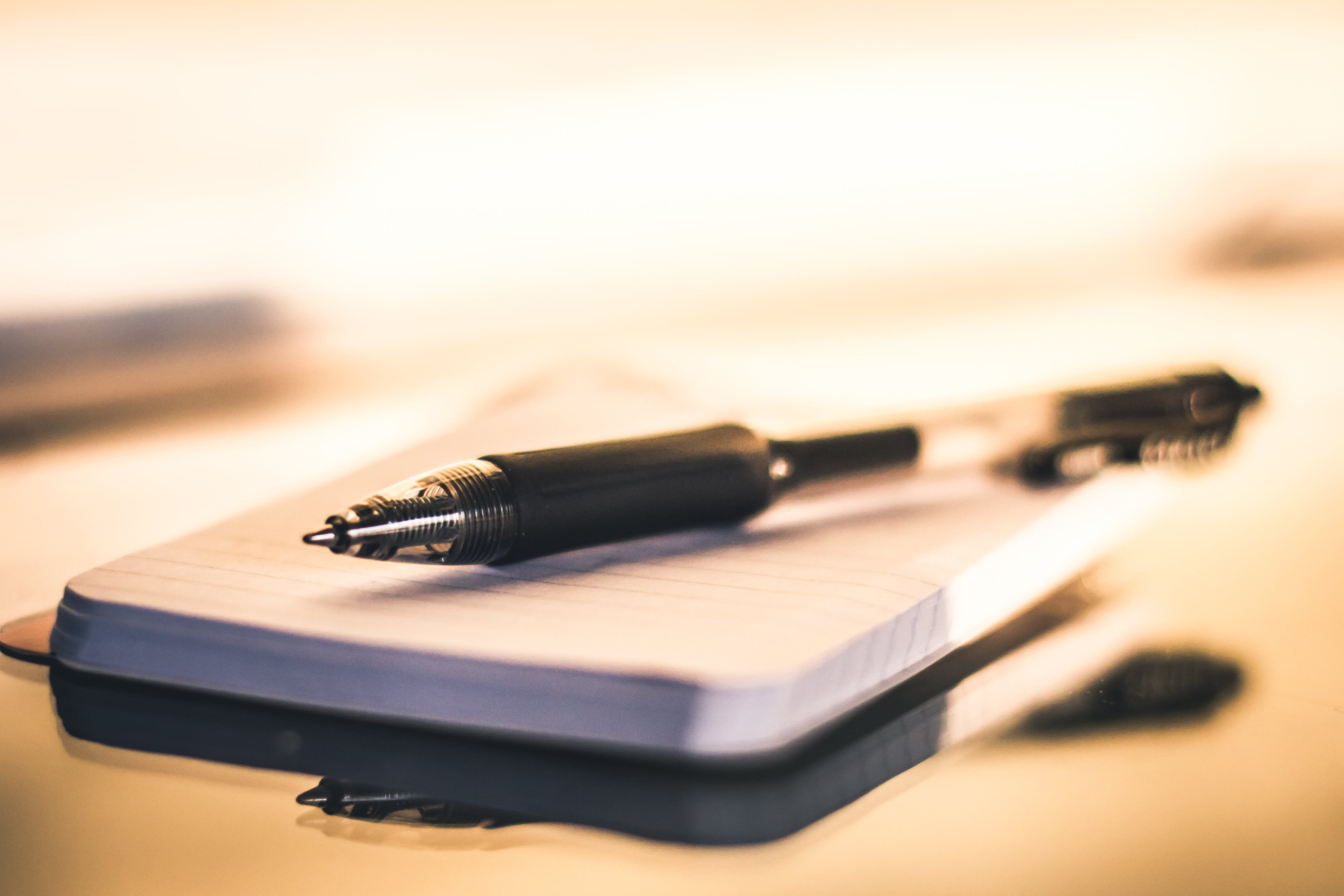 Black Point Pen On White Paper
