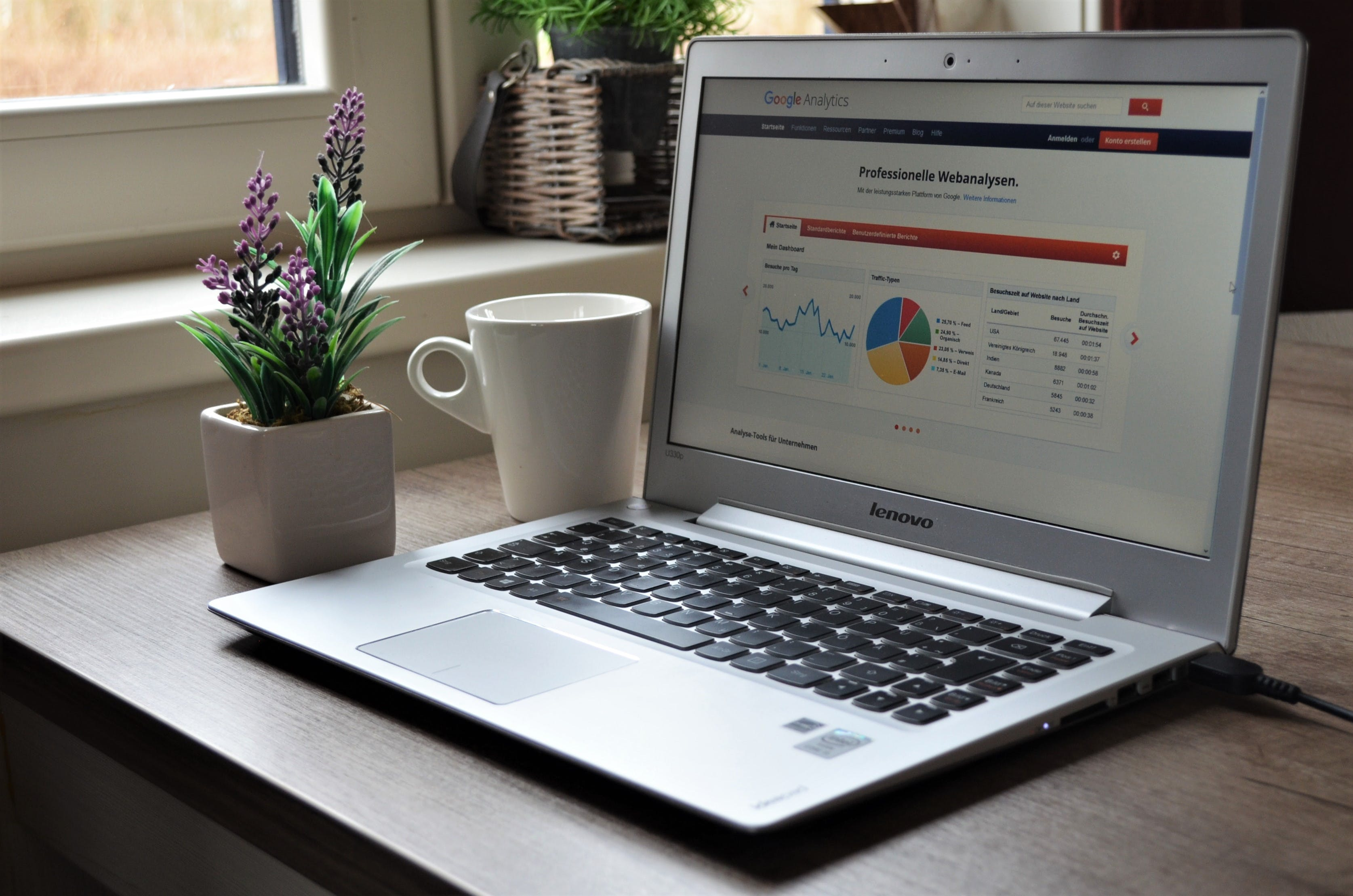 Free stock photo of analytics, coffee, digital marketing, flowers