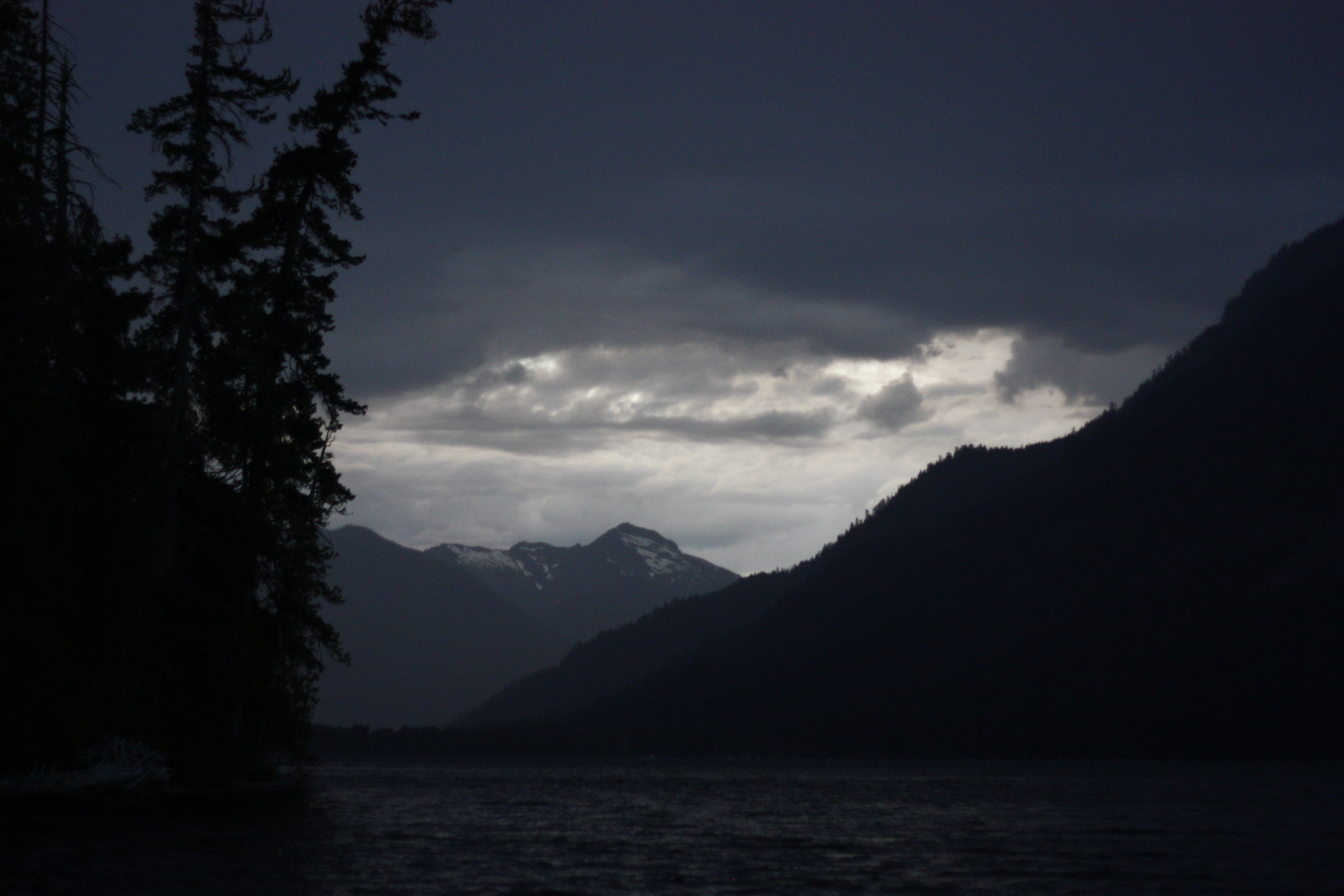 Free stock photo of dark clouds, forest, lake, mountains
