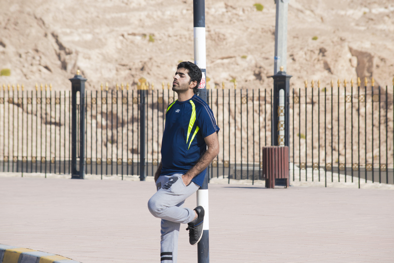 Man in Blue Crew-neck Shirt