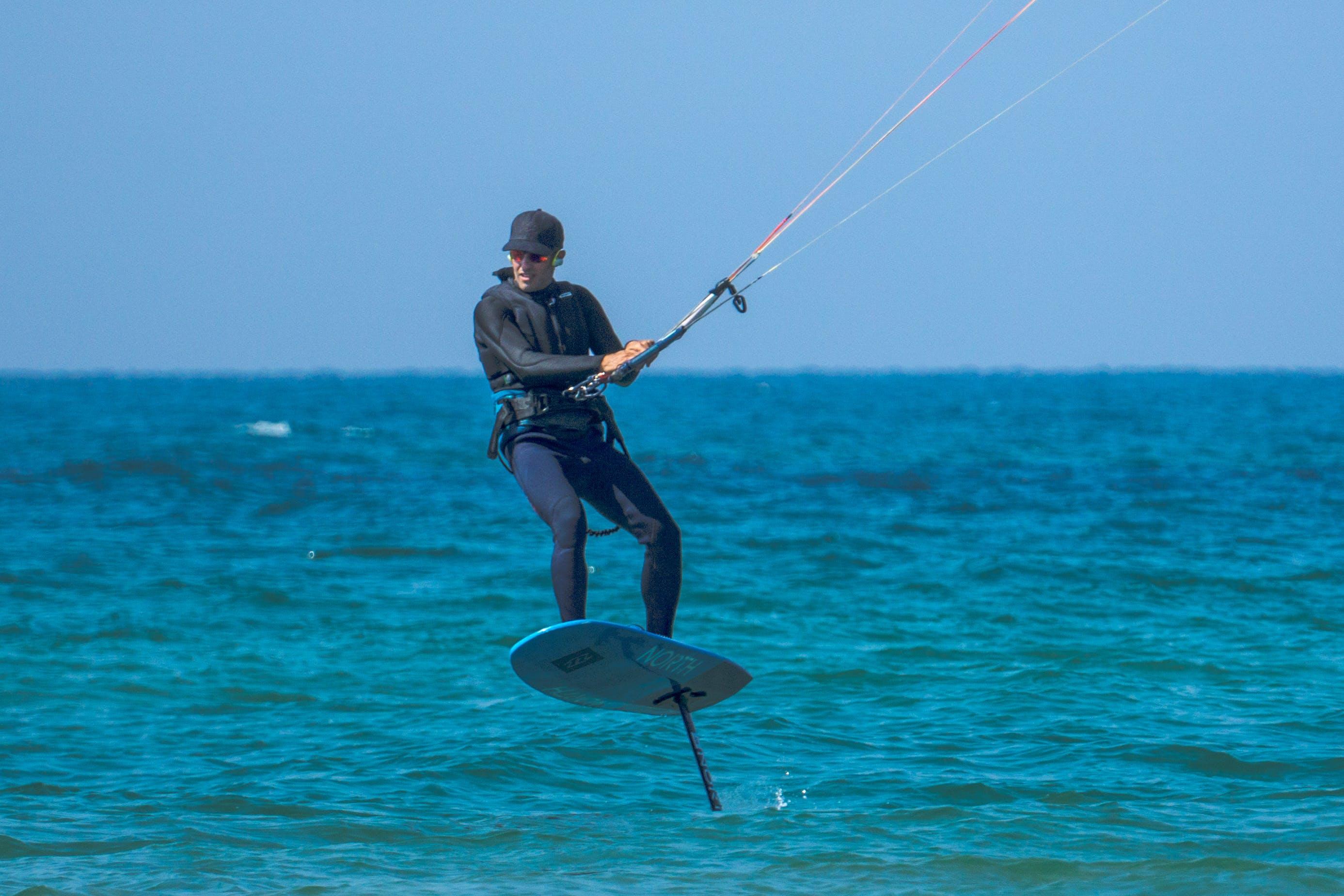 Free stock photo of kite surfing