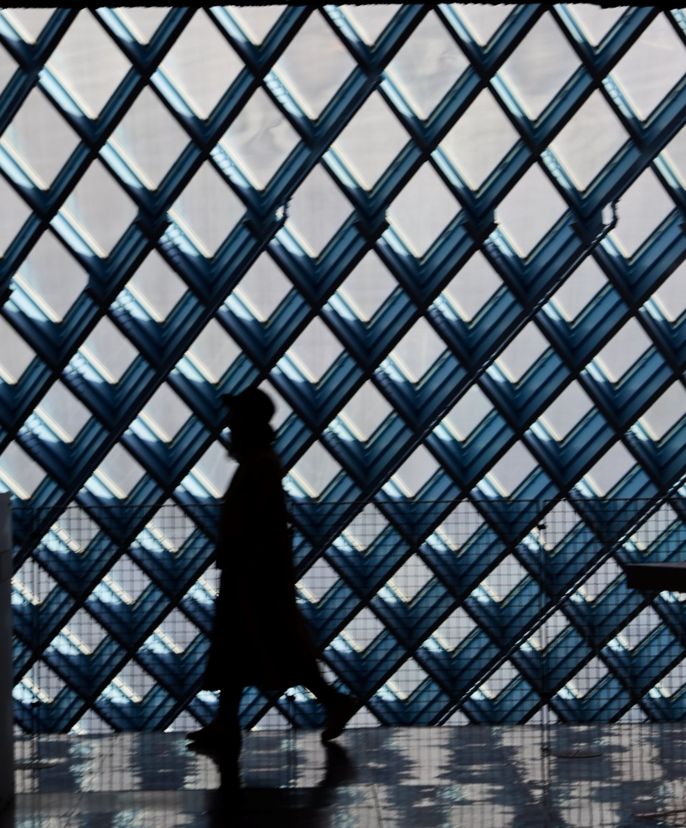 Silhouette of Person Walking Near Window