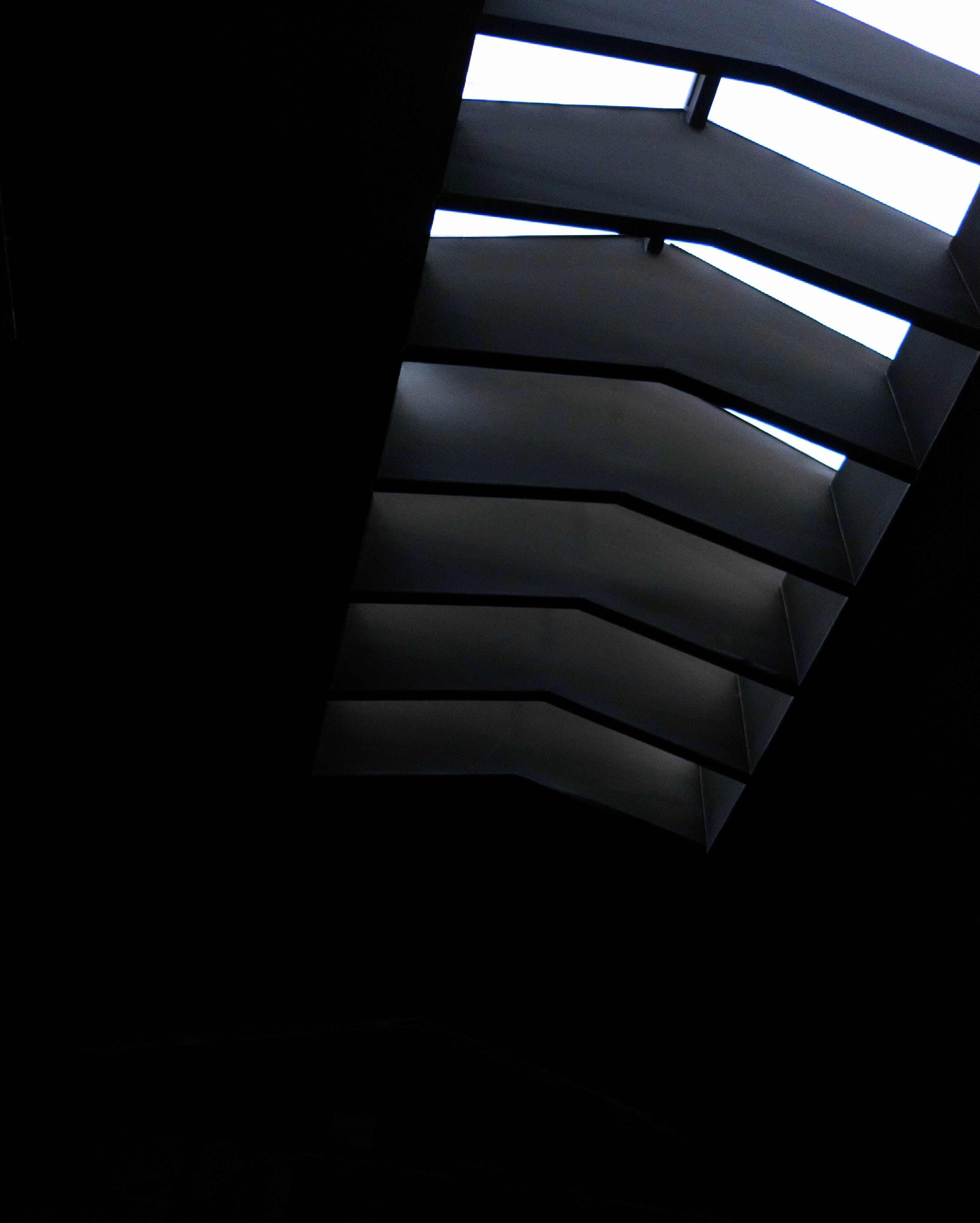 architecture, black and white, ceiling