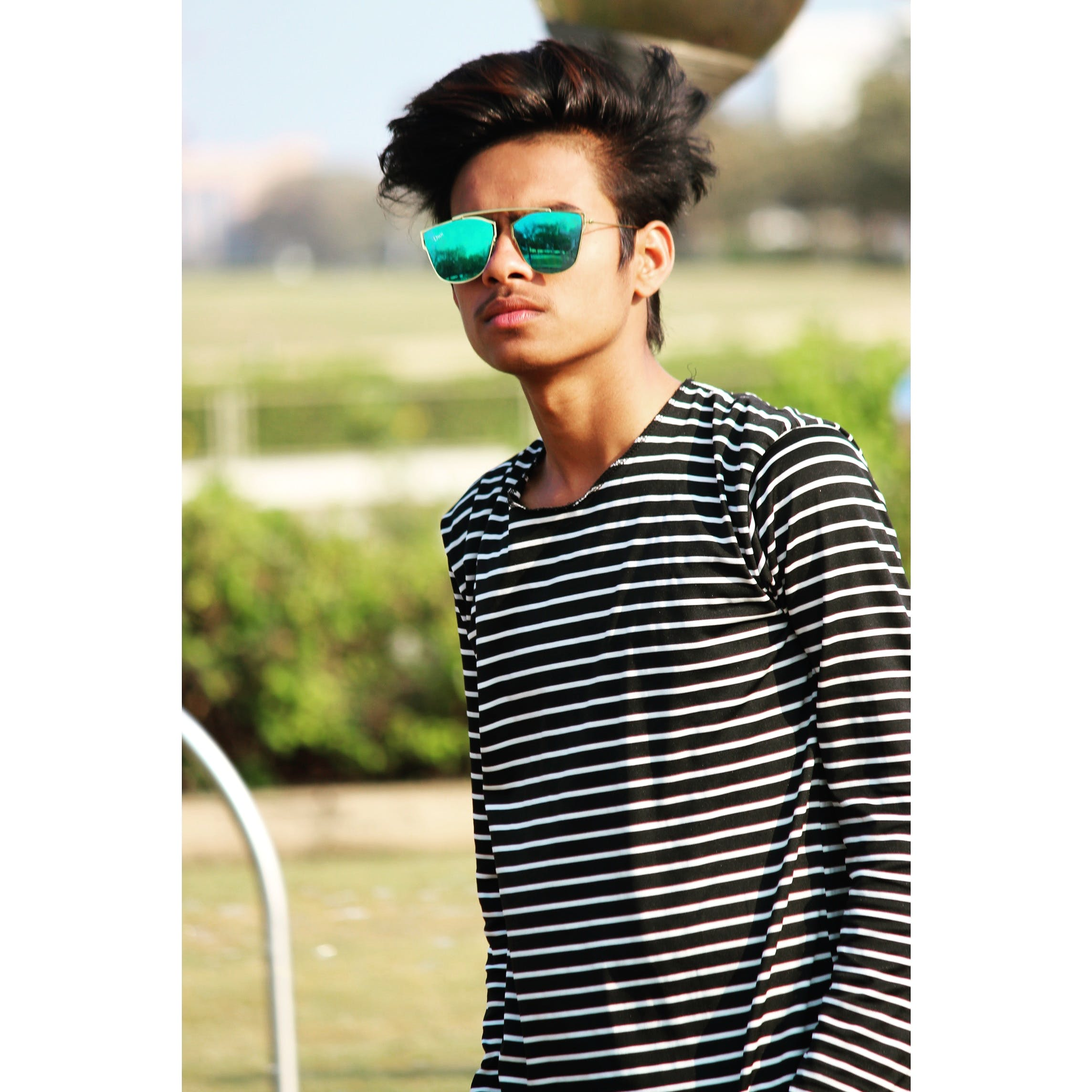 White and Black Striped Long-sleeved Shirt