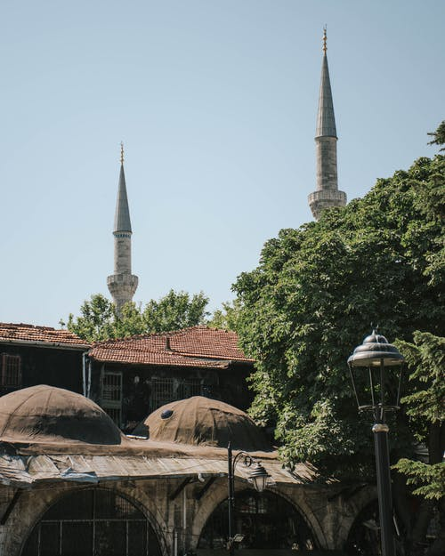 Towers of the Blue Mosque in Istanbul Turkey