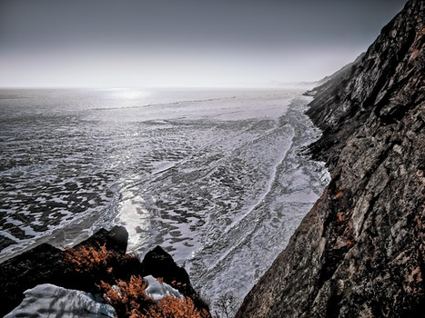 Seawaves on Gray Rock Formation