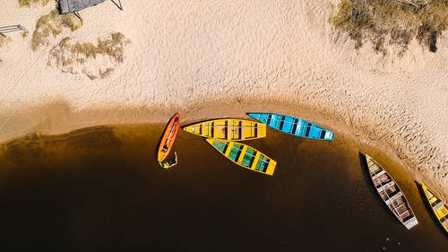 Top View of Assorted-colored Row Boats