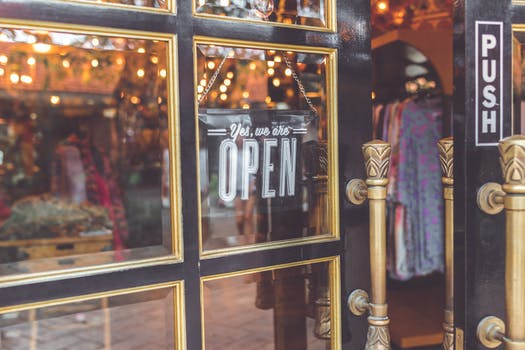 Closeup Photo Black Door Yes We Are Open Signage