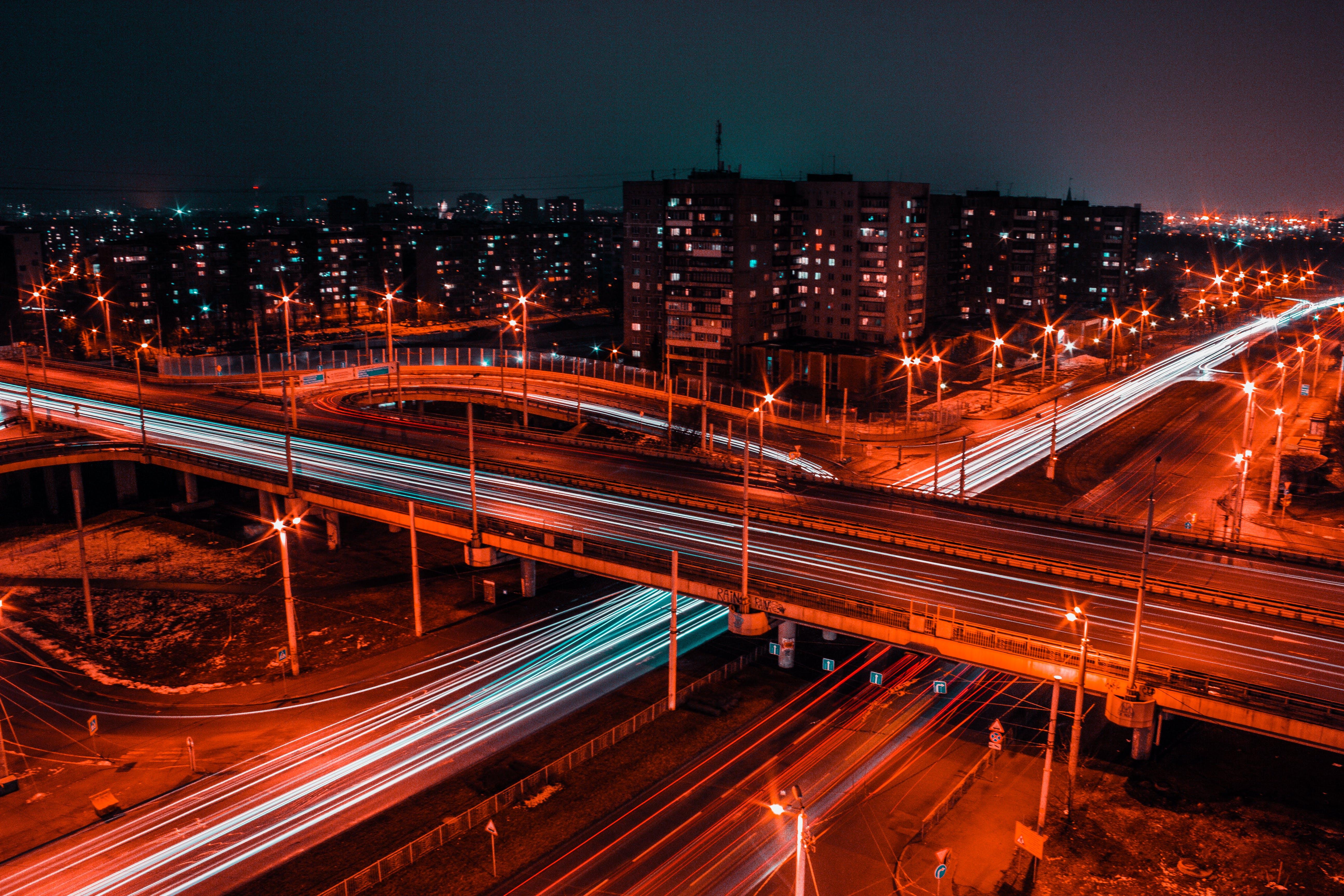 abend, autobahn, beleuchtung