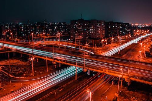 คลังภาพถ่ายฟรี ของ กลางคืน, การจราจร, การเคลื่อนไหว, ตอนเย็น