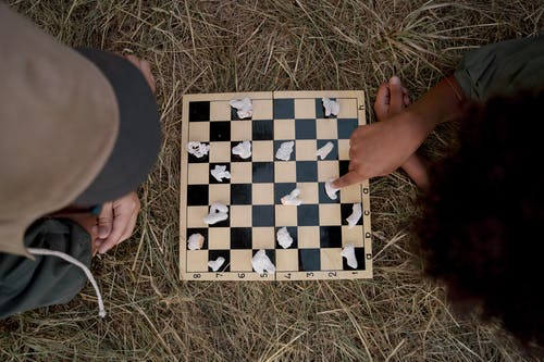 People Playing Board Game on Brown Grass