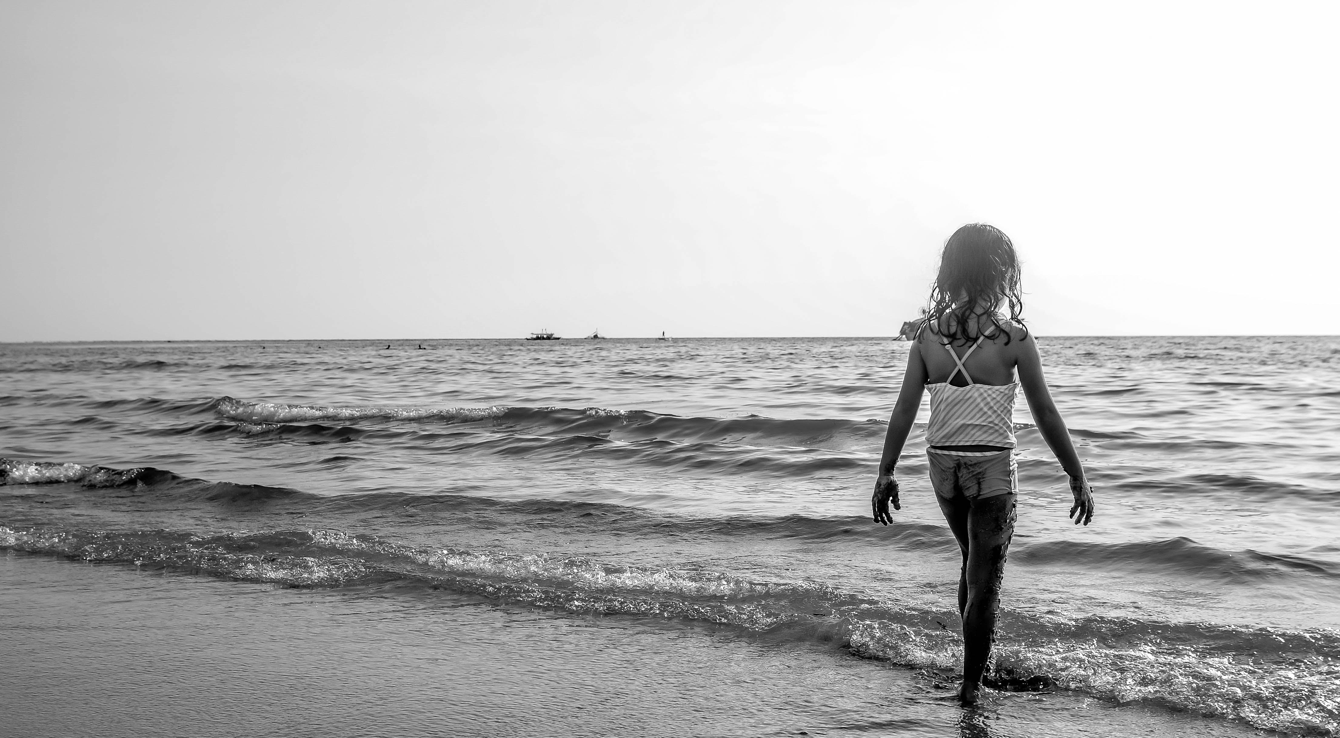 barn, bølger, hav