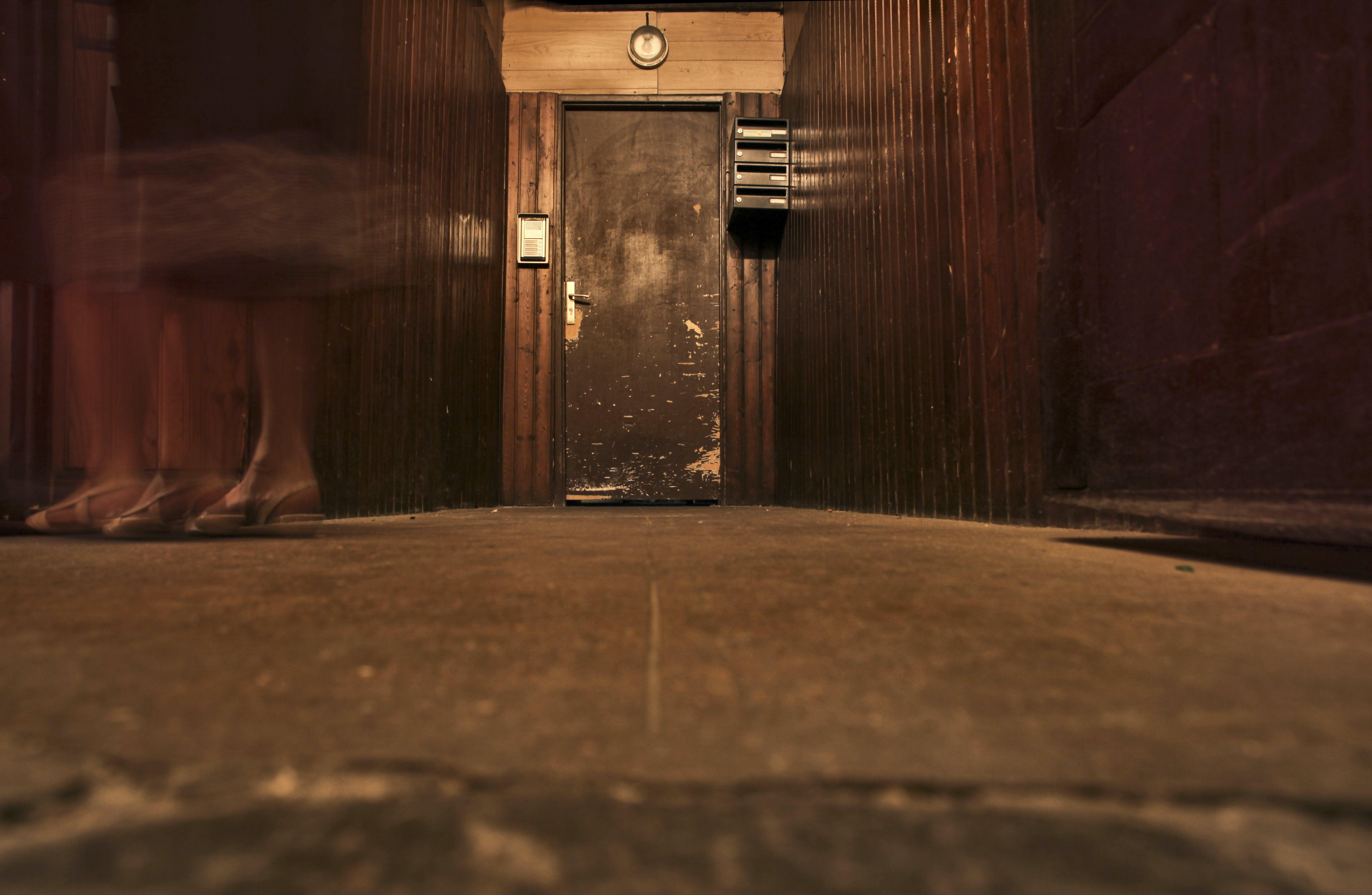 of broken, door, entrance, floor