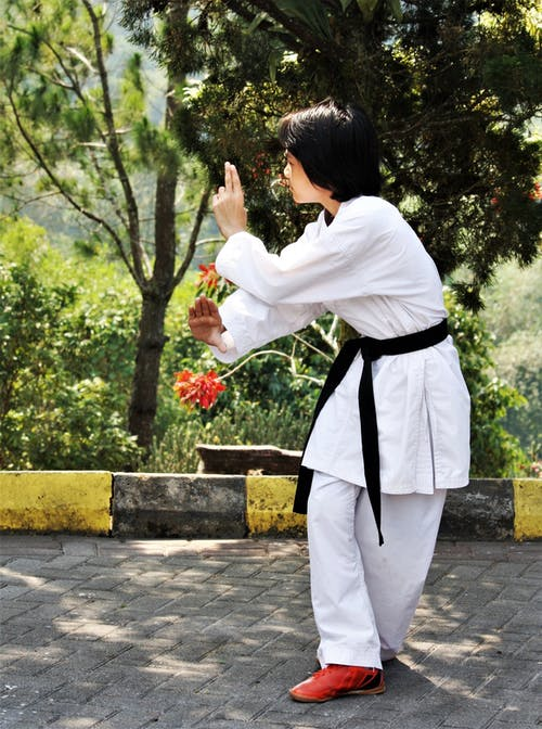 A Person Doing Karate