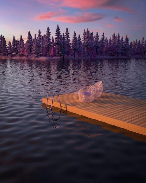 Sillas En Un Embarcadero Y Una Vista Panorámica De Un Lago