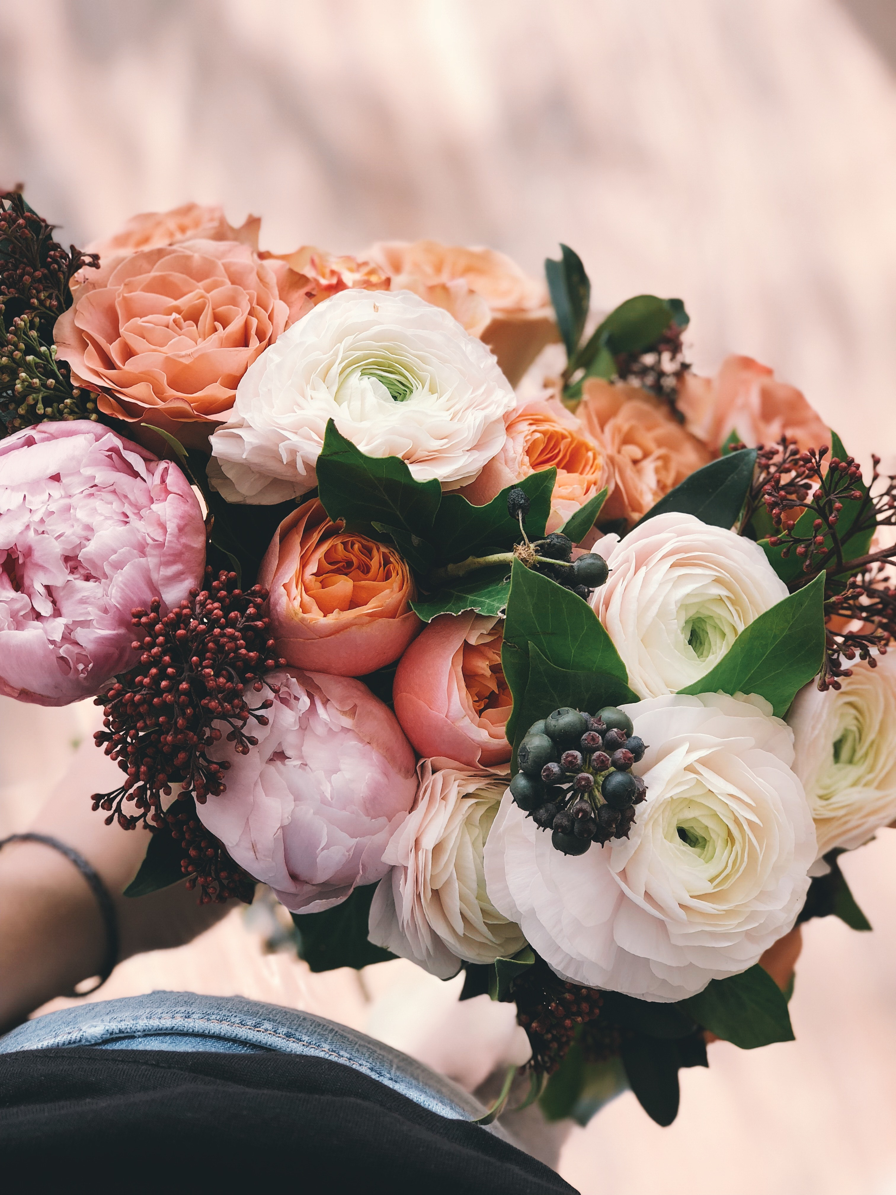 White Pink And Orange Rose Bouquet Free Stock Photo