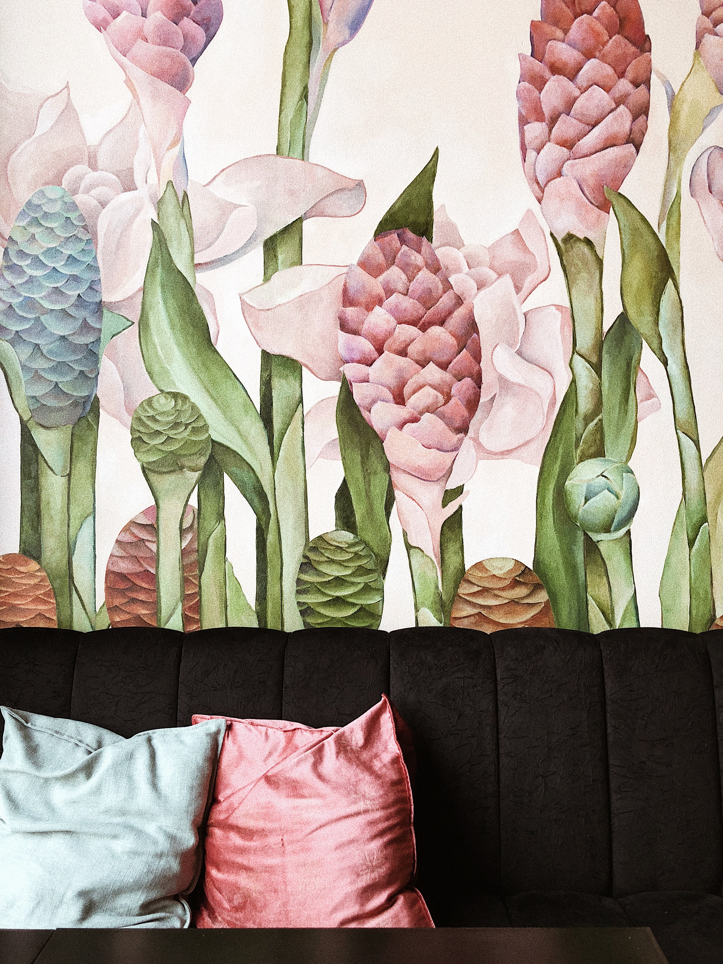 Two Gray and Pink Throw Pillows