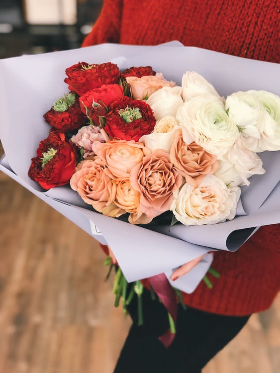 Red, Peach, and White Roses Bouquet