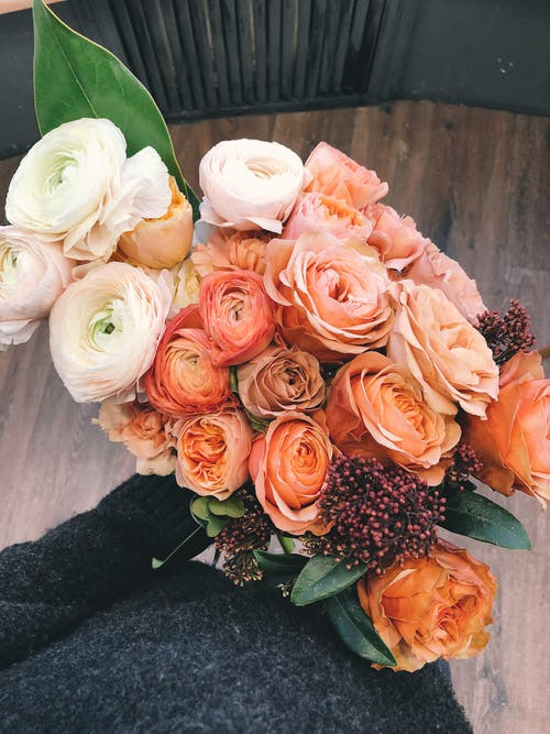White and Orange Roses Bouquet