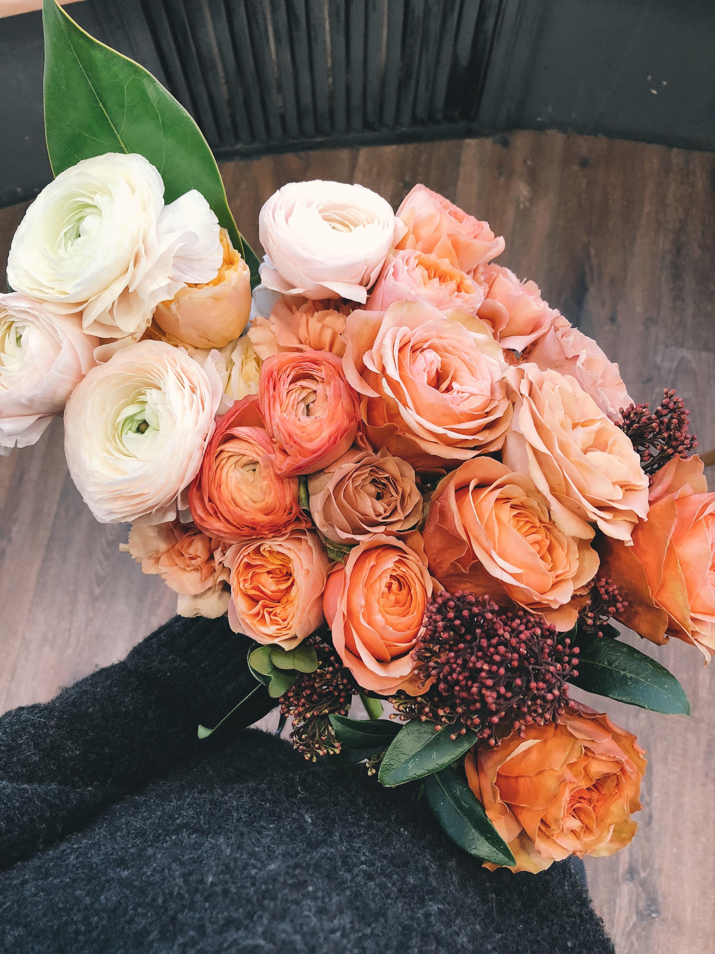White And Orange Roses Bouquet Free Stock Photo