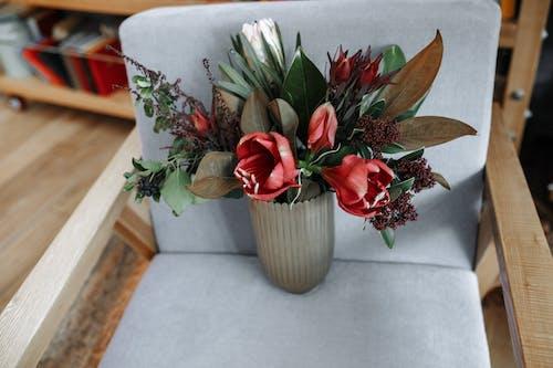 안락의 자에 꽃병에 빨간 튤립 꽃