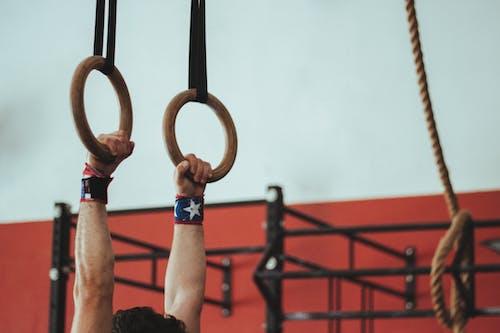 근육이 위로 올라간다., 남자, 로프, 매달린의 무료 스톡 사진
