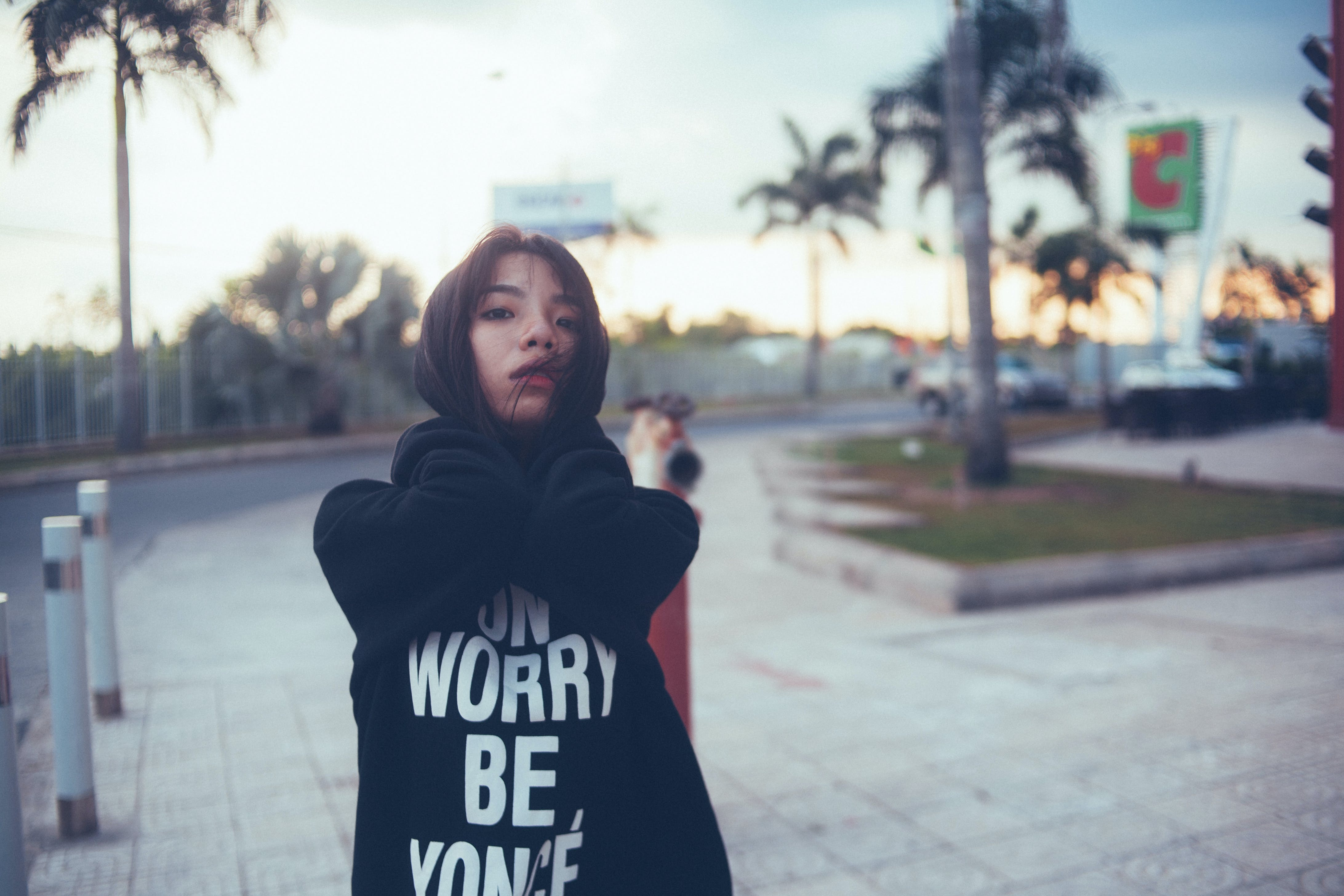 Woman Wearing Black Hoodie during Daytime